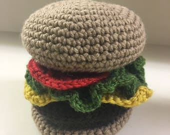 Crocheted cheeseburger plush