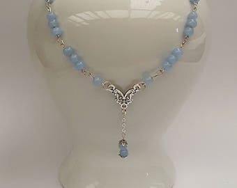 Beaded Blue Necklace Choker, Blue Jewelry, Mother of the Bride, Bridesmaid Necklace, Blue Drop Necklace, Gift for Her, Ladies Gift,