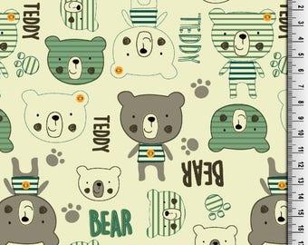 Bear Print Jersey Knit Fabric, Jersey Fabric,Stretch Fabric, Cotton Jersey,Kids Jersey, Stretch Jersey - Half Metre