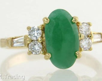 Estate 18K Yellow Gold 1.30ct Genuine Diamond & Green Emerald Ring