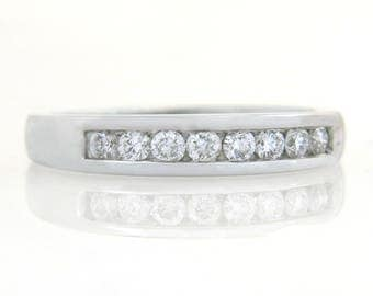Estate .50ct Genuine Diamond 14K White Gold Wedding Band Ring
