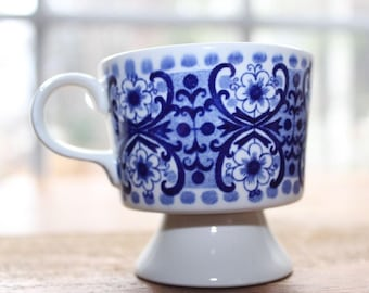 Vintage Arabia Of Finland Ali Blue and White Demitasse China Tea Cup