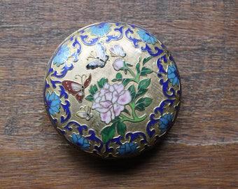 Vintage Floral Butterfly Gold Toned Enamel Trinket Box Made in Japan