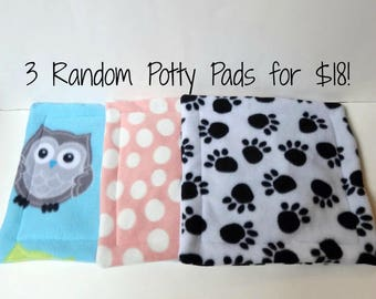SALE! Three Potty Pads in Random Patterns - For Guinea Pigs, Hedgehogs, Rabbits, Rats, and more!