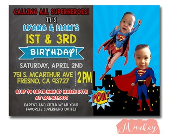 SIBLING SUPERHERO BIRTHDAY Invitation, Dual Superhero Birthday Invitation, Combined Superhero Birthday Invitation, Twin Birthday Invitation