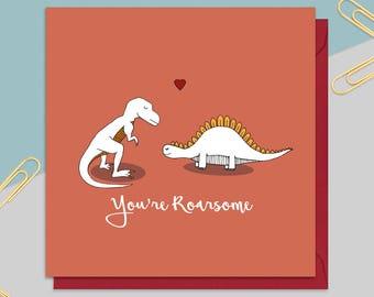 Dinosaur Valentine's Day Card - Greetings Card - Valentine's Cards for Him - Cards for Her - Funny Valentine's Card - Love Card