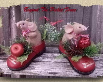 Christmas Decoration Mouse in Red Shoe Xmas Mice Vintage Plastic Christmas Picks Handmade