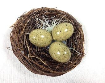 3 Birds Nest Birdsnest With Beige Eggs 3.1 Inches Scrapbooking Nest Craft Birds Eggs Small Bird Nest