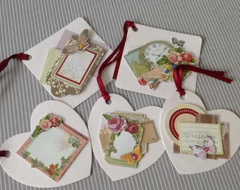 Set of 5 labels tags style chromo Butterfly collection. Set of 40.