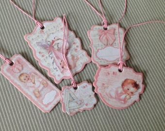 Set of 5 Victorian style tags. Birthstone girl collection. Lot 29.