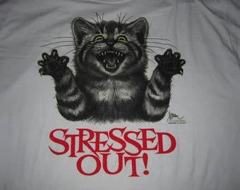 vintage 90s STRESSED OUT crazy cat shirt - sz xl