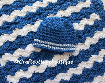 Baby Boy Shower Gift Set -Crochet Baby Blanket & Hat -Travel / Stroller / Car Seat / Crib / Blue and White - Nursery - Knit