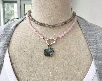 Rose Quartz and Moonstone Smaller Mala Beads Necklace No tassel, Customizable Mala Necklace, Essential oil Charm, Japa Mala Prayer Necklace