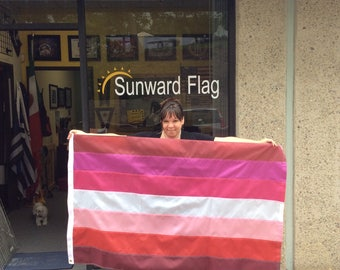 Lesbian Pride Flag 3' x 5' Flag, 7-Stripe Lesbian Flag, Shades of Red Flag, Custom Sizes Available