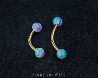 Daith Earring Daith Piercing Daith Jewelry Rook Earring Rook Piercing fire Opal EyeBrow RIng 16G curved bar 6mm 8mm Curved Barbell ~2D02A
