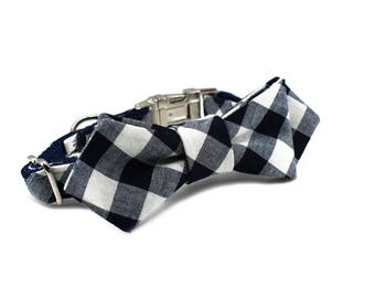Luxury Dog or Cat Bow Tie - The COOPER // Contemporary (navy check print)