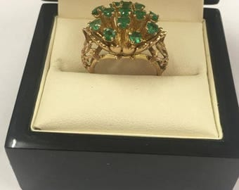 Vintage 9ct Yellow Gold Emerald Cluster Ring Size M 1/2