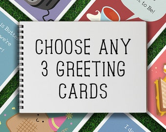Greeting Cards | Mix & Match Greeting Card Pack of 3 Birthday Valentines Day Anniversary, Romantic, Cute, Silly, Pun, Boyfriend, Girlfriend