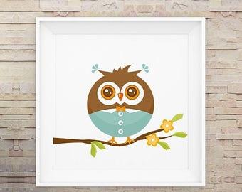 80% OFF Little Boy Owl, Baby, Nursery Art, Wall Art, Cute, Print, Poster