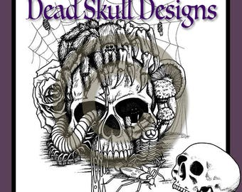 Creepy Crawlies - Colouring Page, Colouring Page, Digital Stamp, Tattoo, Dead Skull Designs