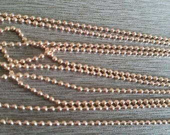 1 m brass ball chain rose gold 1.5 mm
