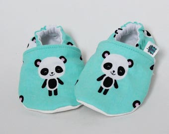 Children slippers, Panda, Turquoise, Black, White, Crib shoes, Flannel, Cotton, Soft soles moccasins, Toddler, Baby shower, Gender neutral