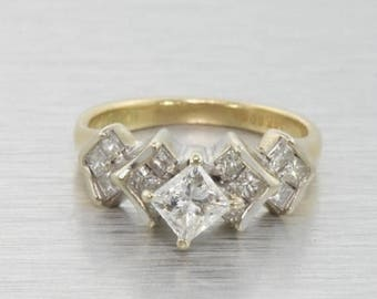 Super Sale Ladies Vintage Estate 14K Two-Tone White and Yellow Gold Princess Cut Diamond Harlequin Ring