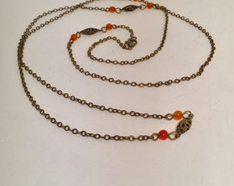 Delicate Brass Orange Beads Necklace