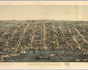 Alexandria, VA , Panoramic Map done in 1903. These are illustrations, not to be confused as road maps.
