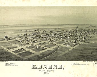 Edmond OK Panoramic Map dated 1891. This print is a wonderful wall decoration for Den, Office, Man Cave or any wall.