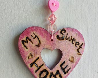 My Sweet Home miniature wall plaque. Pretty pink pyrography and painted plaque