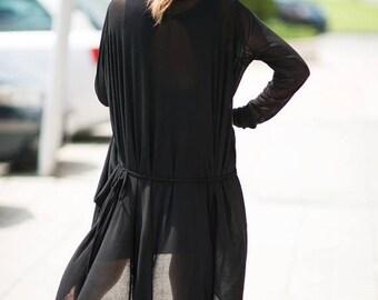 15% SUMMER SALE Black Cotton Long Vest for Women, Summer Vest, Long Vest, Loose Dress, Asymmetric Cardigan, Maxi Vest, Womens Kaftan, Plus S
