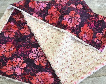 Floral Baby Stroller Blanket, Pink and Coral Baby Blanket, Baby Girl Crib Bedding, Minky Baby Blanket, Baby Shower Gift