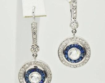 Platinum Sapphire & Diamonds Dangle Earrings 10.5g - 1.60cttw Blue Sapphires + 1.80cttw Diamonds