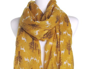 Mustard Winter Deers Scarf / Oversized Shawl / Ladies Womens Scarves / Cover Up / Gifts For Her / Christmas Gift Ideas / Spring Autumn Scarf