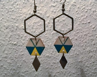 Blue/yellow Hexagon wood earrings