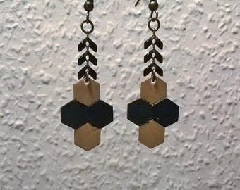 Black/gold Hexagon wood earrings