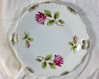 Double Handled Plate, Antique Double Handled Serving Plate, Vintage Rose Serving Plate, Round Serving Platter