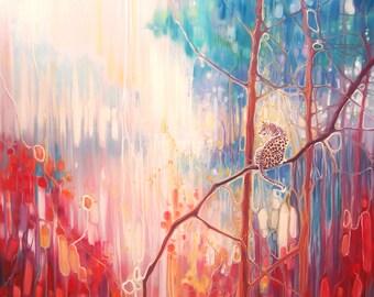 LARGE ORIGINAL Oil Painting - Weaving Magic - an abstract leopard landscape art nouveau style