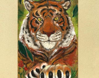 """Sand painting on plywood """"Resting tiger"""""""