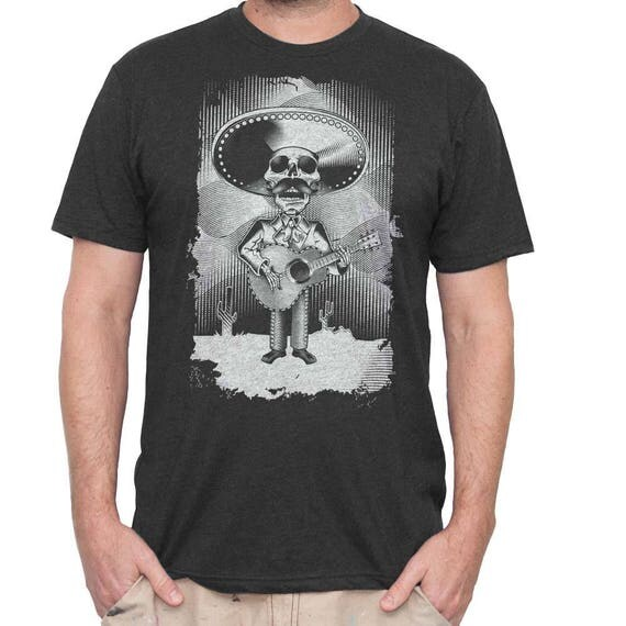 Men's Halloween Day of The Dead Shirt - Men's Guitar Mariachi Sugar Skull Shirt Hand Screen Printed on a Mens Shirt