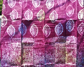 Berry Pink Hand-dyed African Batik Damask BY THE YARD from Mali (aka Bazin and Brocade)