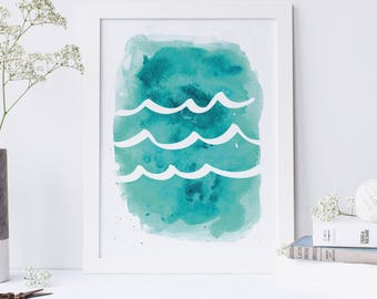 Watercolor Print, Wave Print, Ocean Waves Print, Trending Now, Downloadable Print, Ocean Print, Printable Art, Beach Nursery, Ocean Wall Art