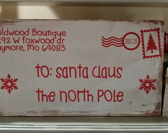 Customized Family Letter To Santa To The North Pole Christmas Sign