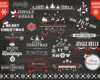 Digital Chalkboard Christmas Clip Art, Chalkboard Christmas Frame Clipart, Christmas Card Invitation, Christmas Scrapbook Embellishment 0408
