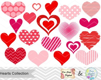 Instant Download Heart Clipart Collection, Digital Hearts Clip Art, Pink Heart Clipart, Red Heart Clip Art, Valentine's Day Hearts 0212