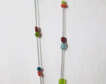 Asymmetrical Multicolor Upcycled Necklace