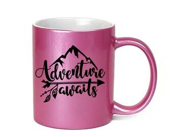 Pink Coffee Mug Adventure Awaits - Microwave Dishwasher Safe Pink Coffee Mug