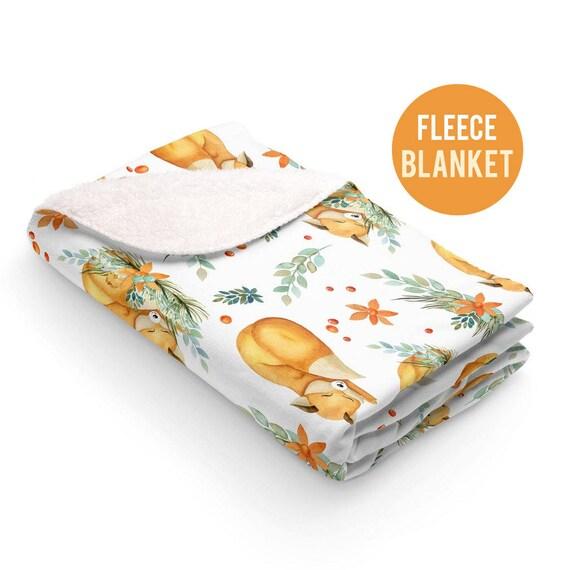 Fleece Blanket - Fox Sherpa Fleece Blanket - 50x60 size - Cute Sleeping Foxes Blanket
