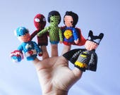 SúperHéroes Babies / finger puppets / focus toy / Toy for motor / DIY amigurumi / travel sensory toy / toddler travel toys / fidget toy